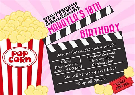 themed birthday party invitations movies kids