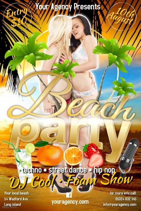 beach party template postermywall
