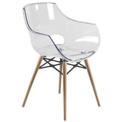 chaise transparente et bois chaise transparente opal wox pieds bois naturel achat