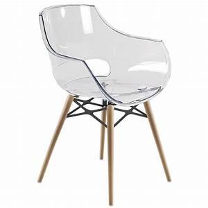 Chaise Transparente Pied Bois : chaise transparente opal wox pieds bois naturel achat vente chaise polycarbonate cdiscount ~ Teatrodelosmanantiales.com Idées de Décoration