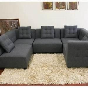 Baxton studio alcoa gray fabric modular modern sectional sofa for Separate sectional sofa pieces