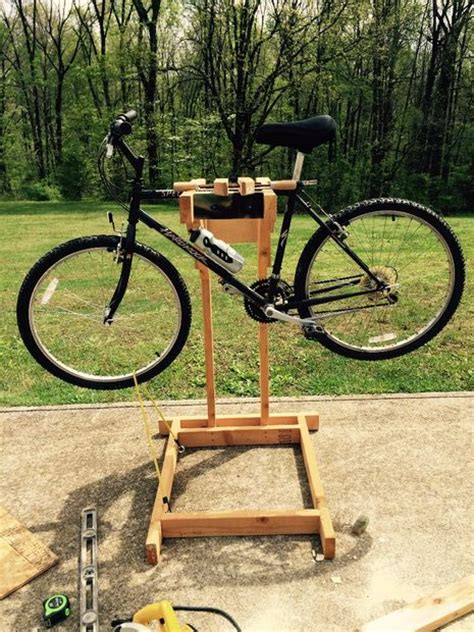 homemade wooden bicycle stand  dual mounting