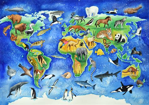Animal Map Of The World Wallpaper - animal map of the world poster of painting of animals of