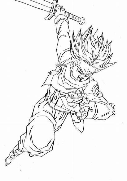 Trunks Dragon Ssj Ball Goku Sketches Coloring