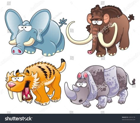 prehistoric animals funny cartoon vector isolated stock