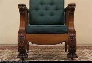 morris reclining chair 1900 antique carved oak lion