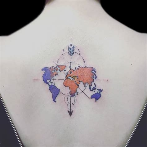 Watercolor world map tattoo gumiabroncs