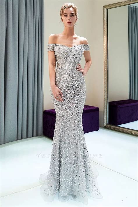 Mermaid Silver Sequins Off-the-shoulder Long Prom Dress ...