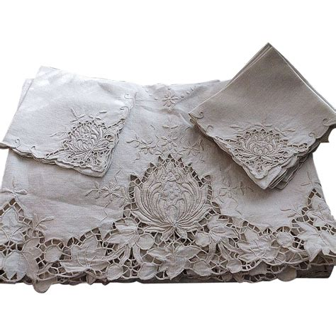 square cloth tablecloths vintage madeira linen embroidered tablecloth napkins sold