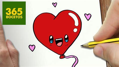 como dibujar globo corazon kawaii paso a paso dibujos kawaii faciles how to draw a