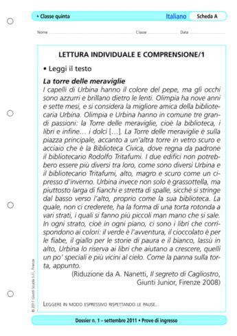 Prove D Ingresso Prima Media Inglese by Prove D Ingresso Italiano Classe 5 La Vita Scolastica