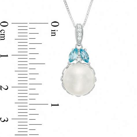 cultured freshwater pearl  blue  white topaz