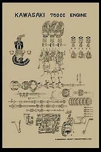 Vintage Kawasaki H2 750 Exploded Engine Motor Diagram