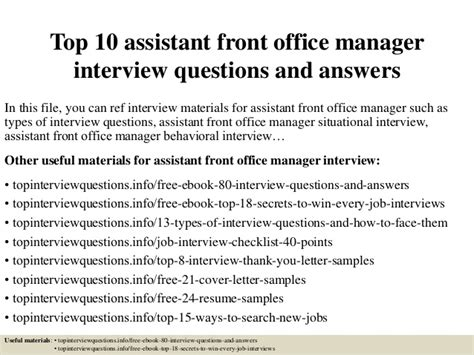 Assistant Manager Questions And Answers For Retail by Top 10 Assistant Front Office Manager Questions