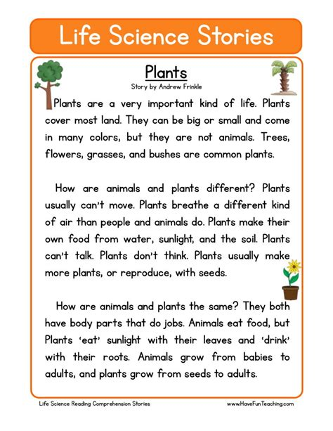 Reading Comprehension Worksheet Plants