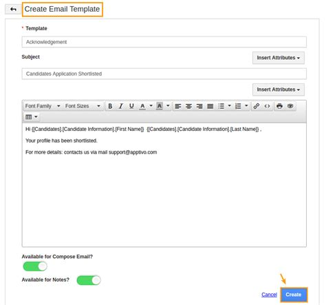create email template how do i create message templates in candidates app apptivo faq