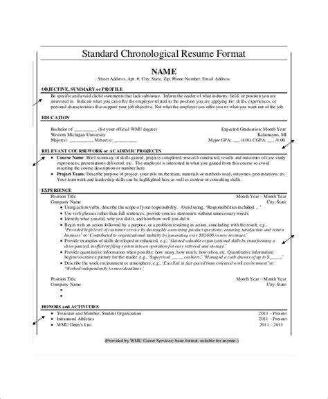 chronological resume format template chronological resume templates free premium