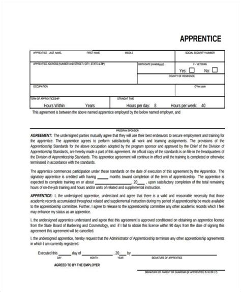 Apprenticeship Contract Template Sle Contract Registration Form Free Documents In Word