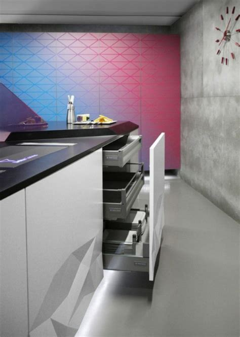 futuristic kitchen design inspired  origami digsdigs