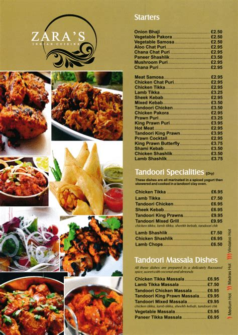takeaway  delivery menu  zaras indian restaurant