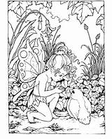 Coloring Pages Fantasy Fairy Child Printable sketch template