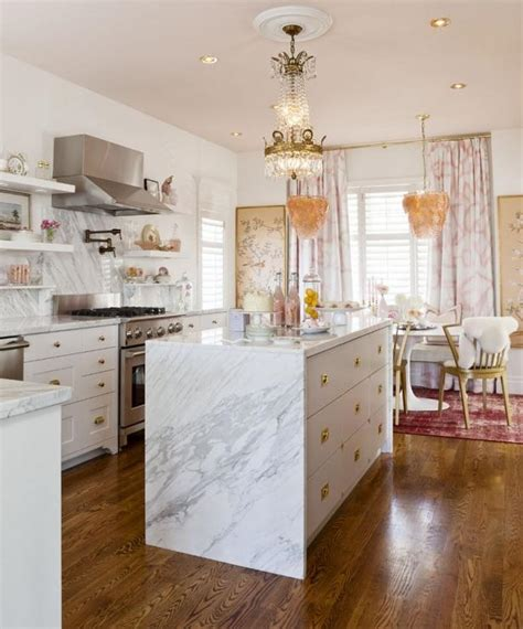 marble kitchen islands waterfall marble kitchen island eclectic kitchen meredith heron design