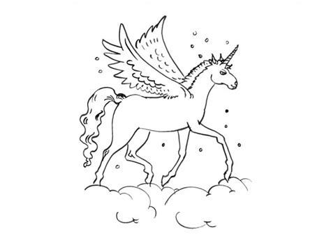 coloriage licorne sur les nuages dessin gratuit  imprimer