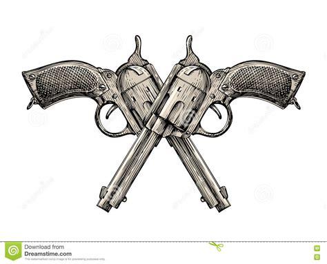 crossed pistols vintage vector gun pistol handgun