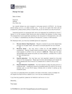 change advice letter  customer payments fill