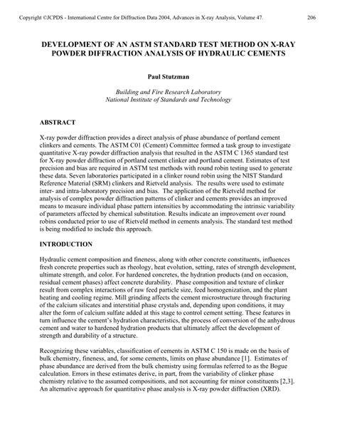 (PDF) DEVELOPMENT OF AN ASTM STANDARD TEST METHOD ON X-RAY