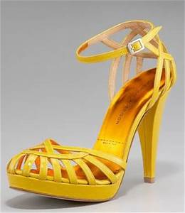 Sigerson Morrison bright yellow platform birdcage sandal