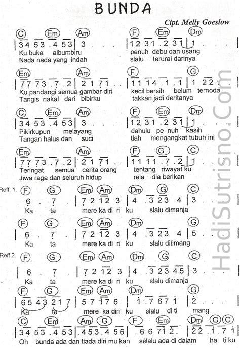 partitur lagu terima kasihku apa not angka dari lagu bunda brainly co id