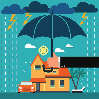 We are looking for a competitive insurance broker to partake in our business development activities. Insurance Agent With Umbrella Under Thunderstorm Protecting House And Car Stock Illustration ...