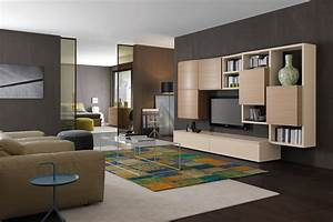 Modern light elm storage system 581 napol furniture for Parete attrezzata soggiorno moderna