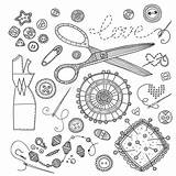 Sewing Tools Coloring Needlework sketch template