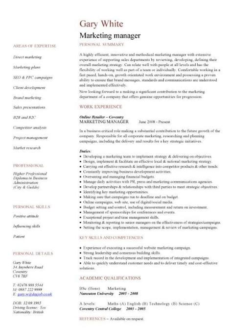 marketing manager cv sle sales caigns promotions
