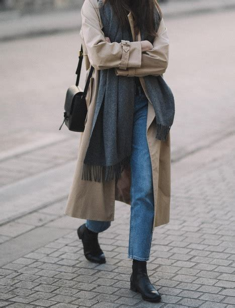 Coat Scarf Flat Boots Tumblr Trench Camel