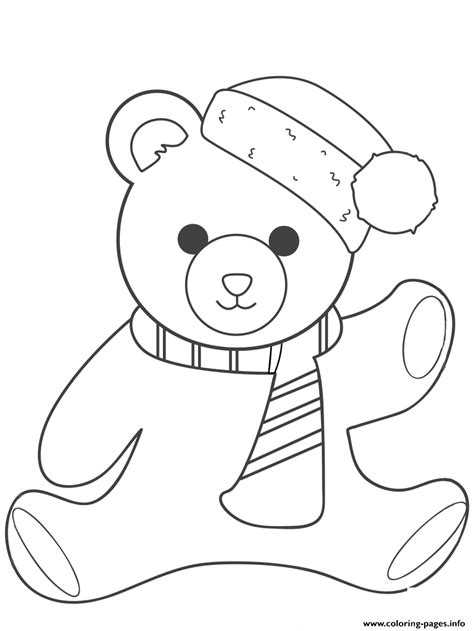 christmas teddy bear coloring pages printable