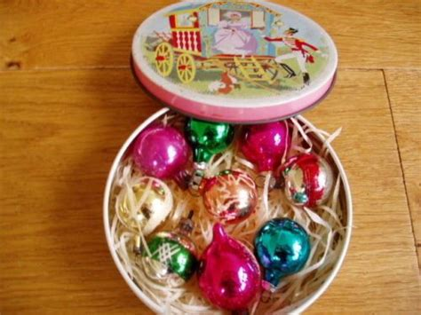 9 Vintage 1950's Christmas Tree Baubles Decorations In Old Quality Street Tin Antique Leather Top End Tables Dining Set Wooden Chest Buyers Vancouver Armoire Furniture Casters Drop Leaf Table And Chairs Large Frames