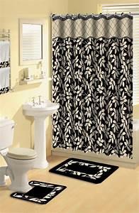 Modern floral leaves black 17 piece bath rug shower for Bathroom shower curtain and rug set
