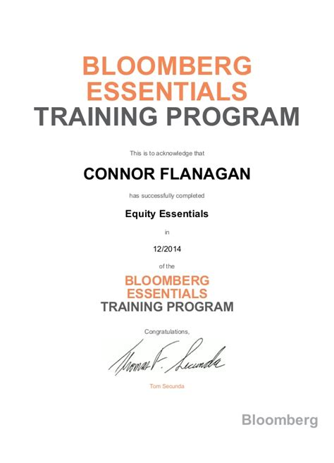 Bloomberg Certification On Resume by Bloomberg Certification