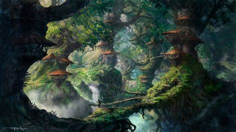 fantasy art wizard forest trees artwork digital art