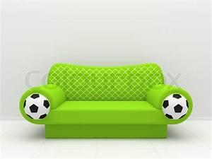 Www Sofa Com : green sofa with soccer balls and a grid stock photo ~ Michelbontemps.com Haus und Dekorationen