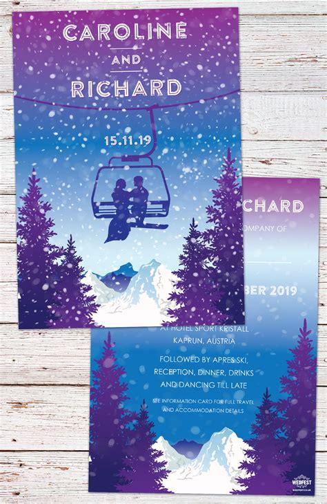Ski Lift Theme Wedding Invitations Wedfest