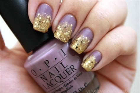Lavender And Gold Nails
