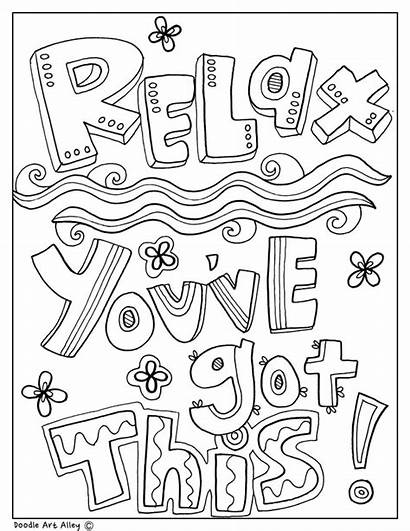 Coloring Pages Quotes Doodles Classroom Colouring Educational