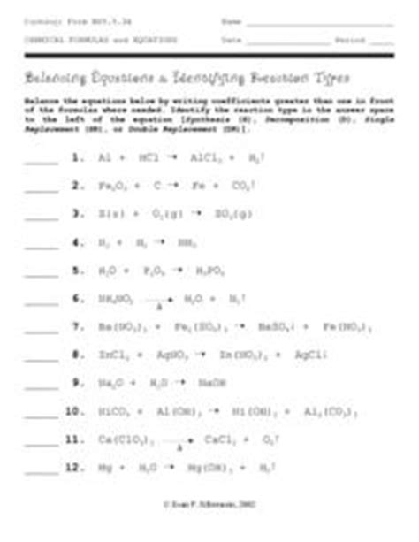 balancing equations and identifying reaction types
