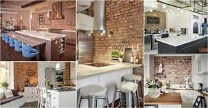 20, Modern, Exposed, Brick, Wall, Kitchen, Interior, Designs