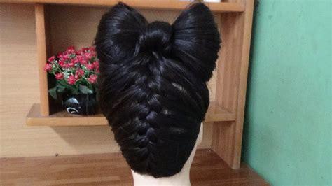hair bow tutorial upside  braid bun french style