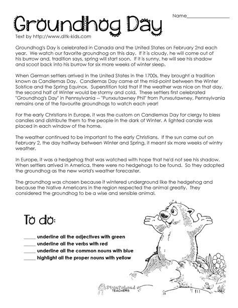 free groundhog day worksheets groundhog day comprehension worksheets search
